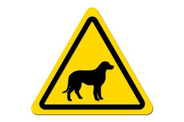 Warnschild Gelb Hund