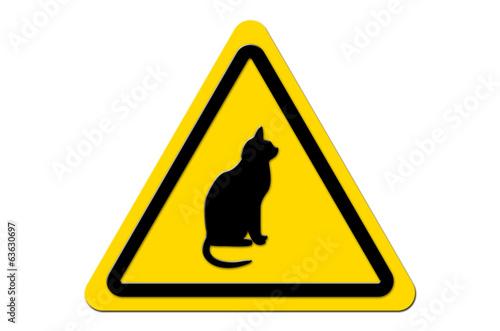 canvas print picture Warnschild Gelb Katze