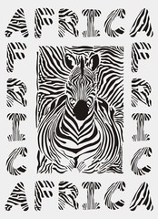 Africa - background with text and texture zebras