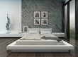 Modern bedroom interior with stone wall