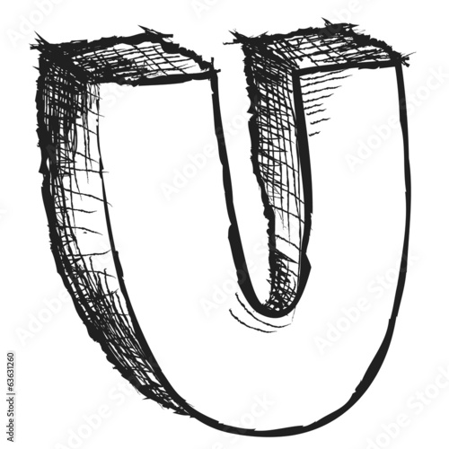 Sketchy hand drawn letter U isolated on white