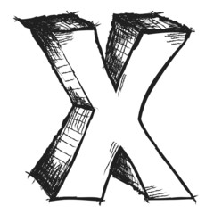 Sketchy hand drawn letter X isolated on white