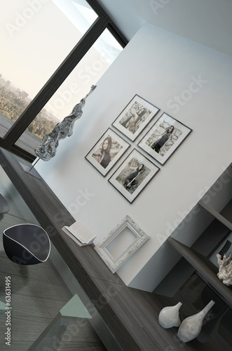 Modern living room interior with woman portrait on wall