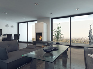 Modern living room interior with gray couch and fireplace
