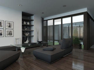 Modern living room interior with gray couch and parquet floor