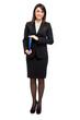 Businesswoman full length holding documents