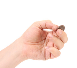 Coin in man hands.