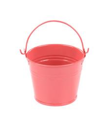 Pink metal bucket with handle.