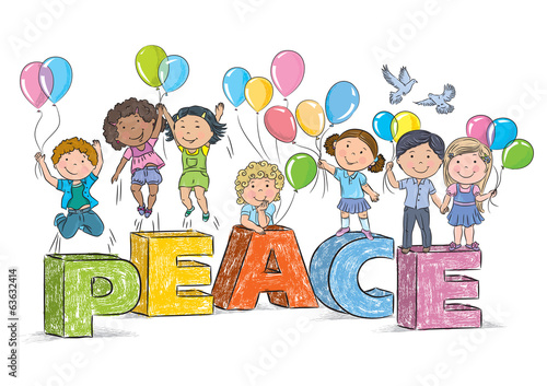 Children on the word peace