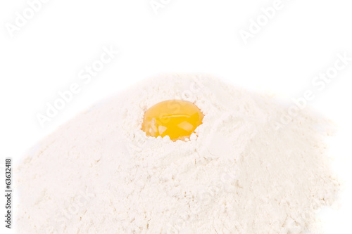 Egg yolk on flour.