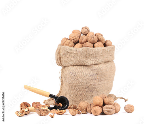 Sack with walnuts and nutcracker.