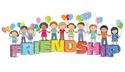 Children on the word friendship