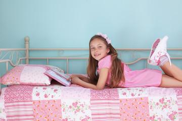 School girl reading