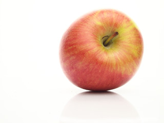 Red apple with green stripes