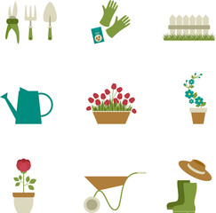 Gardening icons design. Isolated over white