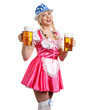 Woman in tiroler oktoberfest style with a glass of beer