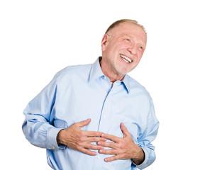 Closeup of a senior, elder, older laughing man, guy
