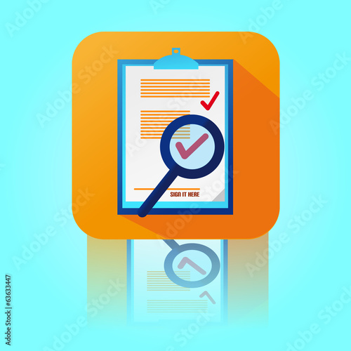 Flat Color Contract Icon With Magnifying Glass