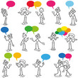 Stickman having a conversation, talking, colorful speech bubbles