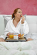 woman breakfast in her bed