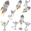 Stickman rocket, startup, entrepreneur, teamwork, fired
