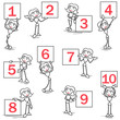 Female stickman ring girl signs numbers