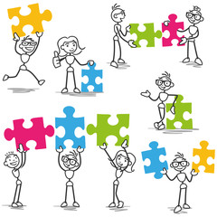 Vecteur stickman jigsaw puzzle pieces teamwork strategy