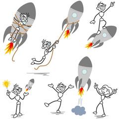 Stickman rocket, startup, entrepreneur, teamwork, fired