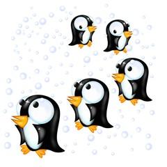 pinguini sotto la neve