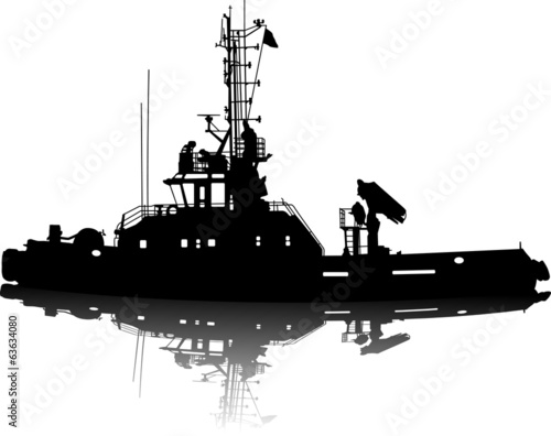 Vector silhouette of a sea towboat
