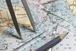 Leinwanddruck Bild - Seekarte mit Navigationsinstrumenten
