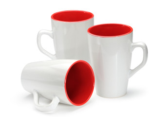 Three white-red cups isolated on white background