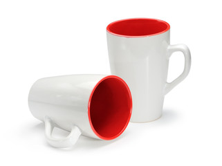 Two white-red cups isolated on white background