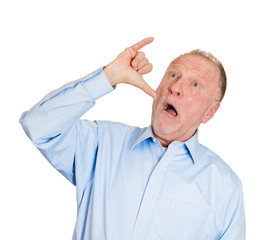 Old man showing a drunk hand sign gesture on white background