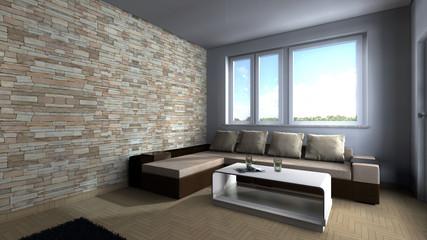 Zimmer möbliert mit großem Fenster