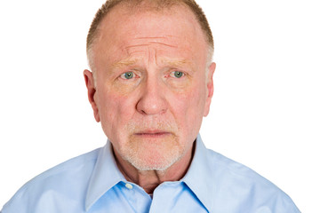 Portrait, headshot Sad, older man on white background