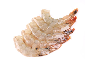 Peeled raw prawns.