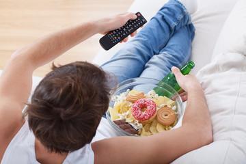 Couch potato watching match