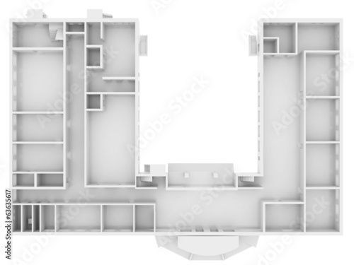 Abstract white floor. Top view