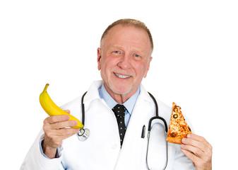 Senior, elderly doctor's advice: eat healthy, low calorie diet