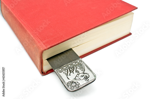 Bookmark in a book isolated on white