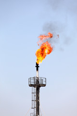 Gas torch in the desert of Bahrain, Middle East