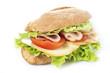 chicken breast sandwich on white - 63636681