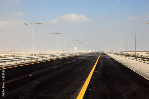 King Hamad Highway in the desert of Bahrian, Middle East