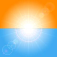 Orange and blue sunny background