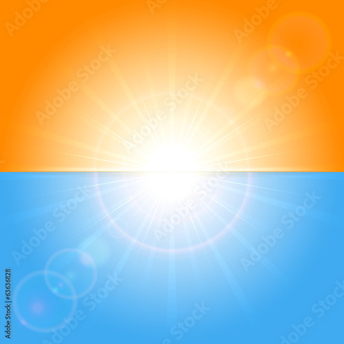 Orange and blue sunny background