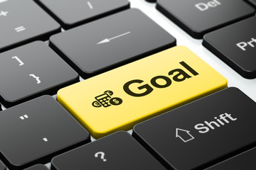 Marketing concept: Calculator and Goal on computer keyboard