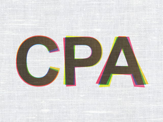 Business concept: CPA on fabric texture background