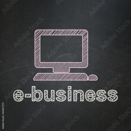 Business concept: Computer Pc and E-business on chalkboard