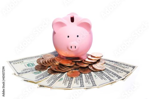 Piggy Bank with Money isolated on white. Dollar Bills